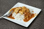 image of marsala  - one serving of a spicy chicken tikka marsala over basmati rice - JPG