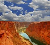 image of grand canyon  - Grand Canyon Mouth in Paige Arizona With Cloudy Sky - JPG