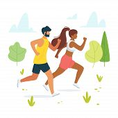 Jog, Run, Exercise In Forest, Woods Flat Vector Illustration. Man And Woman, Couple, Friends Jogging poster
