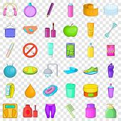 Cosmetic Salon Icons Set. Cartoon Style Of 36 Cosmetic Salon Icons For Web For Any Design poster