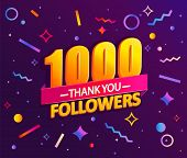 Thank You 1000 Followers, Thanks Banner.first 1k Follower Congratulation Card With Geometric Figures poster
