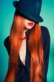 foto of redhead  - Fashion portrait of sexy woman in Hat - JPG