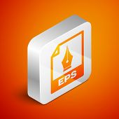 Isometric Eps File Document Icon. Download Eps Button Icon Isolated On Orange Background. Eps File S poster