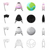 Bitmap Design Of Mars And Space Icon. Set Of Mars And Planet Stock Symbol For Web. poster