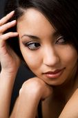 stock photo of hottie  - A face shot of a beautiful black woman - JPG