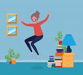 Young Man With Beard Jumping In The Livingroom Vector Illustration Design poster
