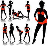 image of stripper shoes  - woman silhouettes in red - JPG