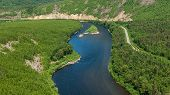 Valley Of The Mountain River Anyuy. Khabarovsk Territory In The Far East Of Russia. The View Of Anyu poster