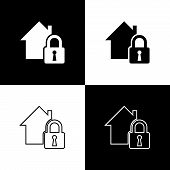 Set House Under Protection Icon Isolated Icons Isolated On Black And White Background. Home And Lock poster