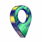 Map Pointer Gps Location Sign Detail Symbol . Simple Place Pointer Navigator Element Of Finish End D poster