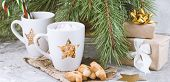 Gift Boxes,mug With Drink Decorated With Marshmallow And Star Shape Cookies  Near Evergreen Christma poster