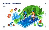 Healthy Lifestyle Or Sport Training, Online Fitness Tracker, Sportsman Health Tracking Isometric App poster