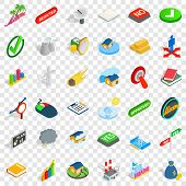 Sinking House Icons Set. Isometric Style Of 36 Sinking House Vector Icons For Web For Any Design poster