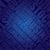 Blue business typographic background with text as pattern