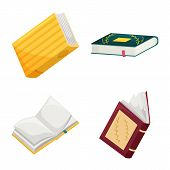 Vector Design Of Library And Bookstore Icon. Set Of Library And Literature Vector Icon For Stock. poster