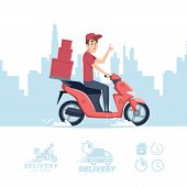 Delivery Man Cartoon. Vector Delivery Man On Scooter And Flat Icons Isolated On White Background. Il poster