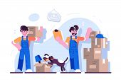 Cartoon Loaders Movers Team With Cardboard Boxes, Cute Dog At Home. Moving And Delivery Company Conc poster