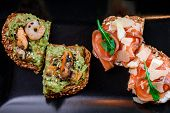 Whole Grain Bread With Avocado Paste, Mussels And Shrimps, And Whole Grain Bread With Salmon And Che poster