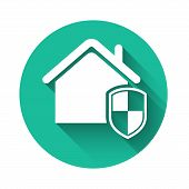 White House Under Protection Icon Isolated With Long Shadow. Home And Shield. Protection, Safety, Se poster