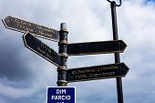Road Sign On The Crossroads With Blue Cloudy Sky In The Background. Traveling Concept With Crossroad poster