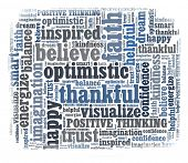 stock photo of positive thought  - Optimistic in word collage - JPG