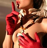 picture of porno  - sexy girl with red gloves - JPG