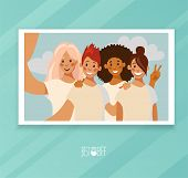 Selfie Photo Card Of A Group Of Four Friends. Selfie Photo Characters Girls In Flat Design. Photo Pr poster