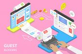 Isometric Flat Vector Concept Of Guest Blogging, Commercial Blog Posting. poster