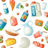 Milk Dairy Food Products In Flat Style Milky Breakfast Gourmet Organic Meal Fresh Diet Food Milky Dr poster