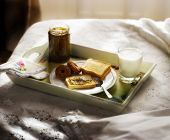 image of bed breakfast  - breakfast served in bed on the tray bread - JPG