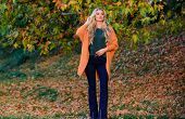Cozy Casual Outfits For Late Fall. Comfortable Outfit. Girl Adorable Blonde Posing In Warm And Cozy  poster