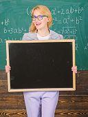 Place For School Advertisement. School Schedule Advertisement. Teacher Hold Blackboard Blank Adverti poster