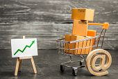 Shopping Cart Filled With Boxes, Email Symbol And Stand With Green Up Arrow. Shopping Online. Growth poster