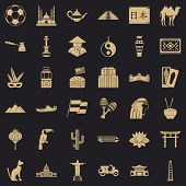 World Tourism Icons Set. Simple Style Of 36 World Tourism Icons For Web For Any Design poster