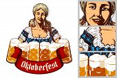 Oktoberfest Girl Waitress Holding Mugs Of Beer In Traditional Bavarian Dirndl. Isolated Emblem. Ribb poster