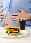 image of obese man  - Fat stomach with burger and cola - JPG