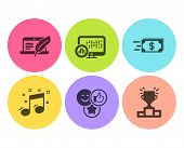 Report Statistics, Money Transfer And Copyright Laptop Icons Simple Set. Like, Musical Note And Winn poster
