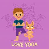 Cartoon Boy In Yoga Pose With Cute Cat. Kid Practicing Yoga Icon. Vector Illustration. Cute Boy And  poster