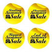 Yellow Summer Sale Stickers Sizzling,clearance,biggest,end Of With Shopping Bag.vector Illustration poster