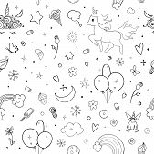 Cute Vector Unicorns And Rainbow Seamless Pattern - Hand Drawn Kawaii Style Illustration With Imagin poster