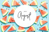 Inscription Hello August. Fresh Red Watermelon Slice Isolated Light Blue Background. Top View, Flat  poster