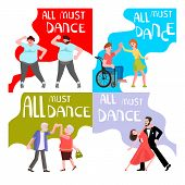 Banner Happy Different People Dancing. All Must Dance Dancing-party Or Studio For Elderly, Size Plus poster
