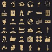 Different Profession Icons Set. Simple Style Of 36 Different Profession Icons For Web For Any Design poster