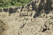 Scree Of Sand Sand Dunes, Mountains, Sand Avalanche, Texture, Soil Erosion, Weathering poster