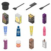 Hair Dye Icons Set. Isometric Set Of Hair Dye Vector Icons For Web Design Isolated On White Backgrou poster