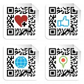 stock photo of qr-code  - QR code technology concept with social media icons in labels - JPG