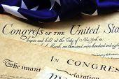 foto of preamble  - Preamble to the Constitution of the United States and American Flag - JPG