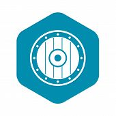 Round Army Shield Icon. Simple Illustration Of Round Army Shield Vector Icon For Web poster