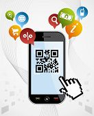 picture of qr-code  - Black smartphone with QR code app on white background - JPG