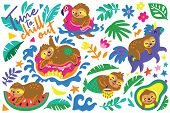 Time To Chill Out. Vector Cartoon Set With Sloths Characters Relax In Summer Holidays poster